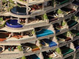 "Taken by helicopter, this photo reveals the layered composition of the resort. The stacked terraces ensure absolute privacy in each of the guest rooms, or ""sanctuaries."""