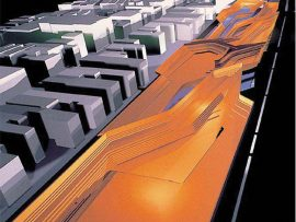 A view of Zaha Hadid's 2000 competition proposal for the Grande Bibliothèque de Québec in Montreal. Courtesy of Zaha Hadid Architects.