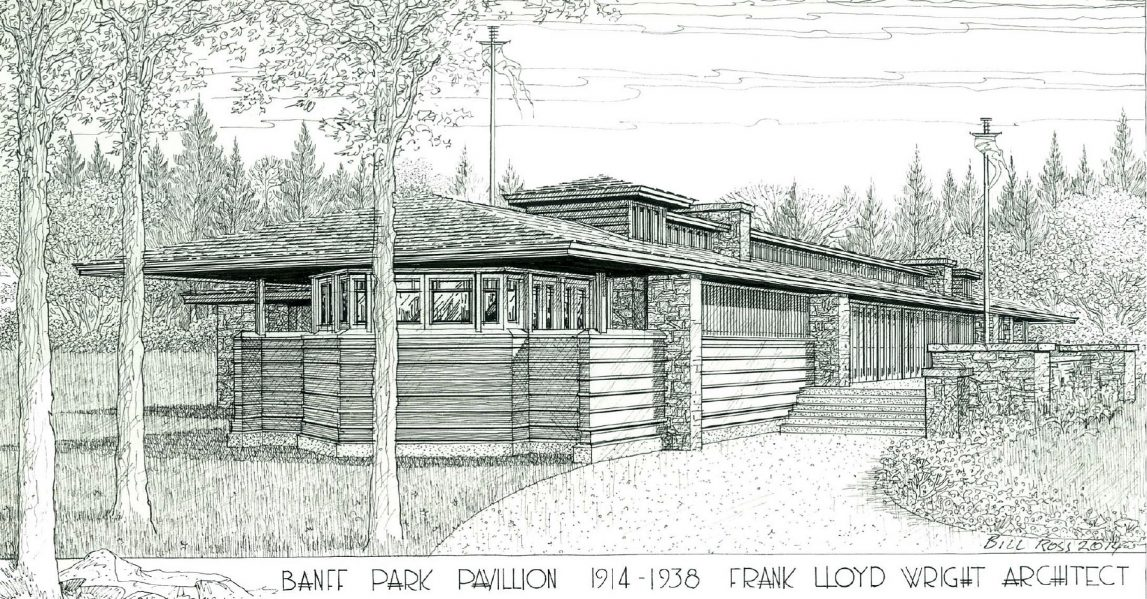 Pencil drawing of Frank Lloyd Wright's Banff Park Pavillion. Courtesy of Frank Lloyd Wright Revival Initiative.