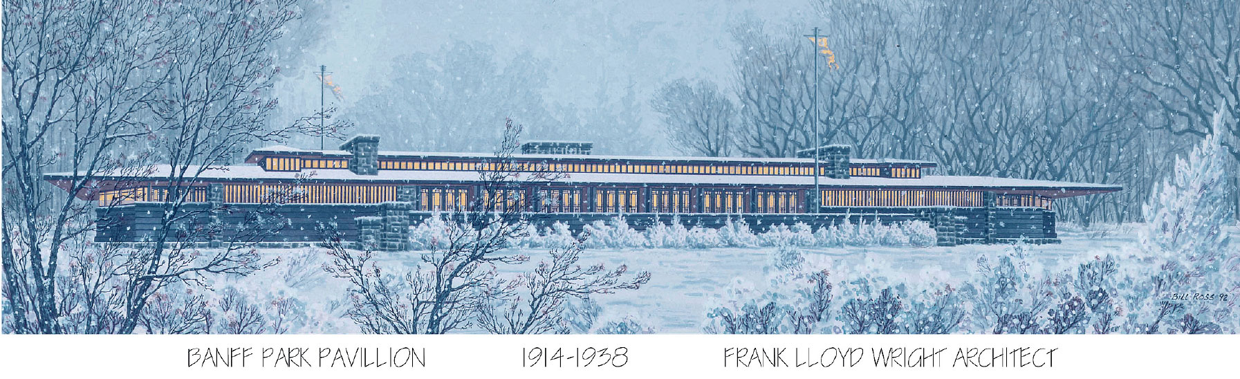 Render of Frank Lloyd Wright's Banff Park Pavilion. Courtesy of Frank Lloyd Wright Revival Initiative.