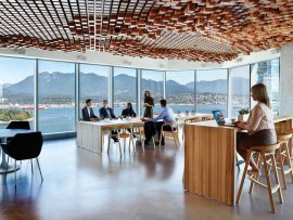 Natural light and views are optimized within CBRE Group's offices in Vancouver, which were designed by Perkins+Will to adhere to the WELL building standard.