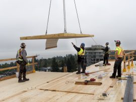 UBC Brock Commons Installation of Final Wood Panel on the World's Tallest Timber Building Last wood panel arrives on the 18th storey of the World's Tallest Timber Building in preparation for final installation in Vancouver Canada on August 9, 2016. Located on the campus of University of British Columbia, the new student residence called Brock Commons is latest boundary-pushing wood structure project for structural engineering firm Fast+Epp. Building slated to open mid-2017.
