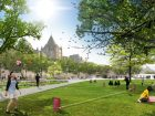 Atmospheric rendering of multi-use green spaces. (Théberge block). Photo credit: NIPPAYSAGE