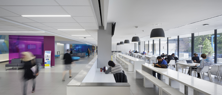A waiting area adjacent generous windows provides a pleasant place for students to work, eat and socialize. Photo by Tom Arban.