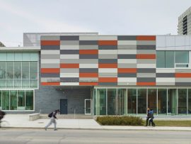 Designed by CS&P Architects, the Regent Park Community Centre and an adjacent school are integral to their neighbourhood. Photo by Shai Gil