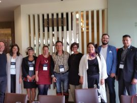 RAIC Indigenous Task Force. Left to right: Alfred Waugh, MRAIC, Wanda Dalla Costa, Harriett Burdett-Moulton, FRAIC, Rachelle Lemieux, MRAIC, Patrick Stewart, MRAIC, Ouri Scott, MRAIC, Eladia Smoke, MRAIC, Jason Surkan, Ray Gos-selin, MRAIC.