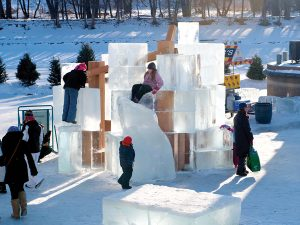 For the 2012 festival, Gehry Partners created Five Hole, an abstracted igloo built from chiselled ice blocks. Courtesy The Forks