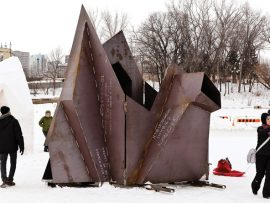 Designed by Tanya Tagaq with Sputnik Architecture, In the Light of the Kudluk used steel forms as moulds for a series of shelters built from packed snow. Courtesy The Forks