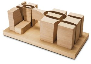 A later model displays the concept of the museum as a series of containers.