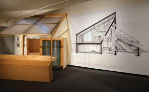 A full-scale mock-up of the greenhouse space that was integral to the house's agricultural and heating systems is part of the exhibition. Photo: John Leroux