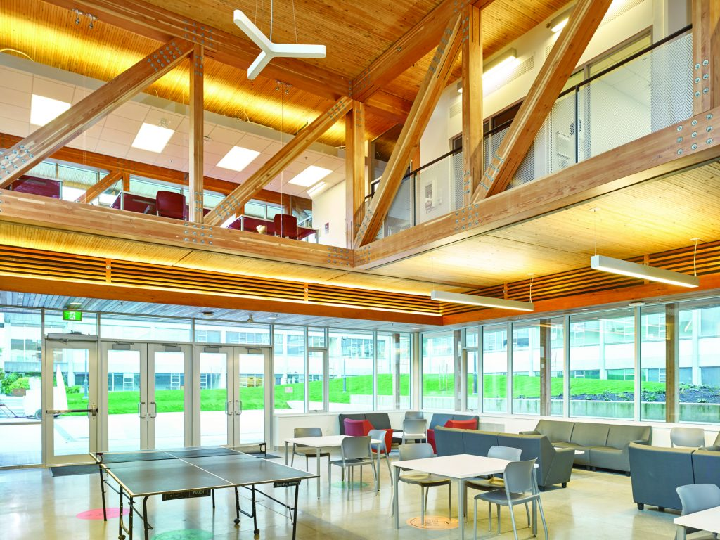 Shelley Craig, UBC Engineering Student Centre. Photo Credit: Wood WORKS! BC – 2017 Wood Design Awards in B.C.