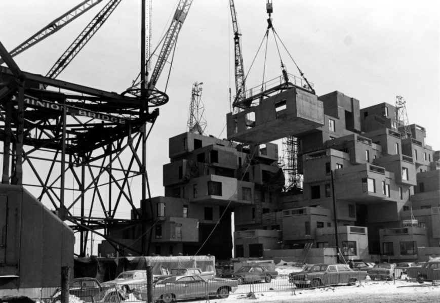 Habitat 67, construction image, 1966. Photo credit: Collection of Safdie Architects