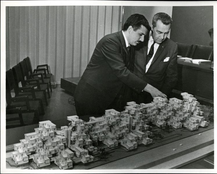 Moshe Safdie With Expo chief architect Edouard Fiset, 1966. Photo credit: Collection of Safdie Architects