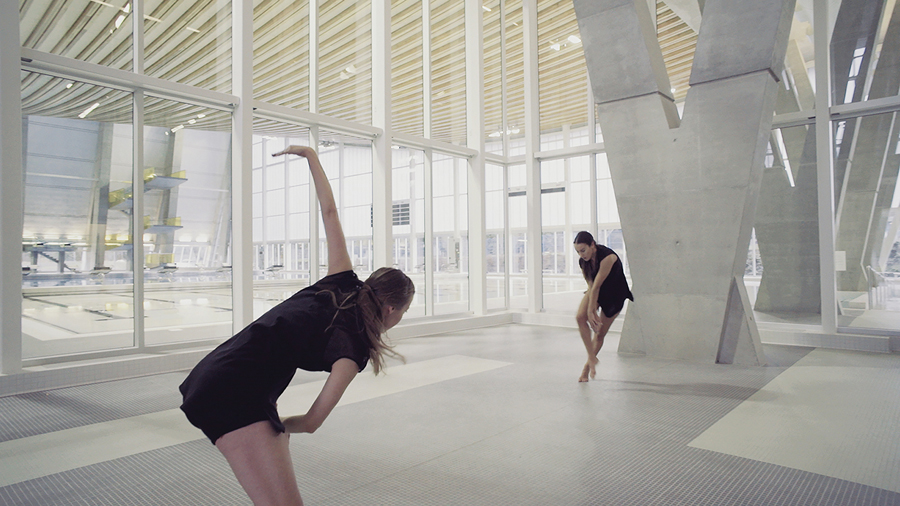 Solid Liquid Ether was a site-specific dance piece choreographed by Heather Myers at a recently opened aquatic centre designed by HCMA. Photo: Black Rhino Creative