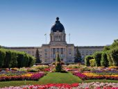 The Saskatchewan Legislative Building is part of the park-like setting. Photo: Wascana Centre Authority