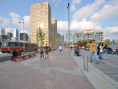 Queens Quay includes improvements for pedestrians and cyclists. Photo courtesy of Waterfront Toronto