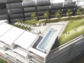 A raised terrace will include a pool and other amenities.