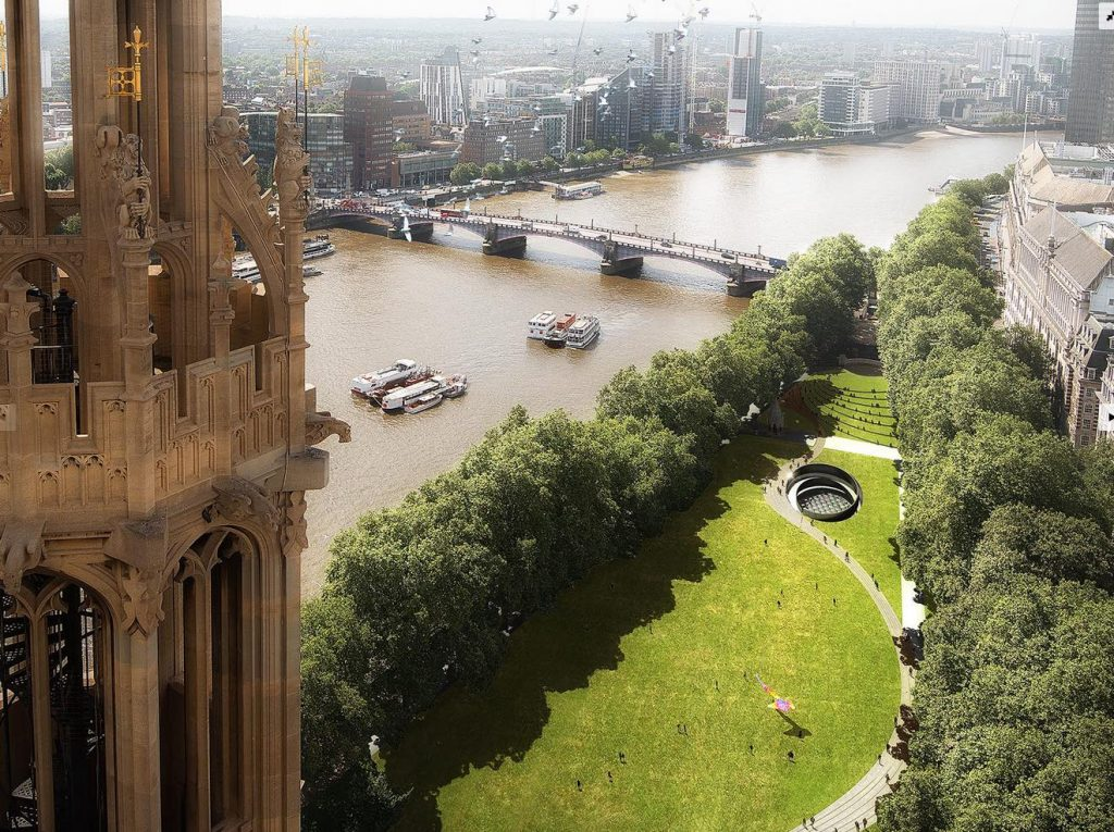 Aerial view of scheme in Victoria Tower Gardens, image via Diamond Schmitt