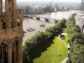 Aerial view of scheme in Victoria Tower Gardens, image via Diamond Schmitt