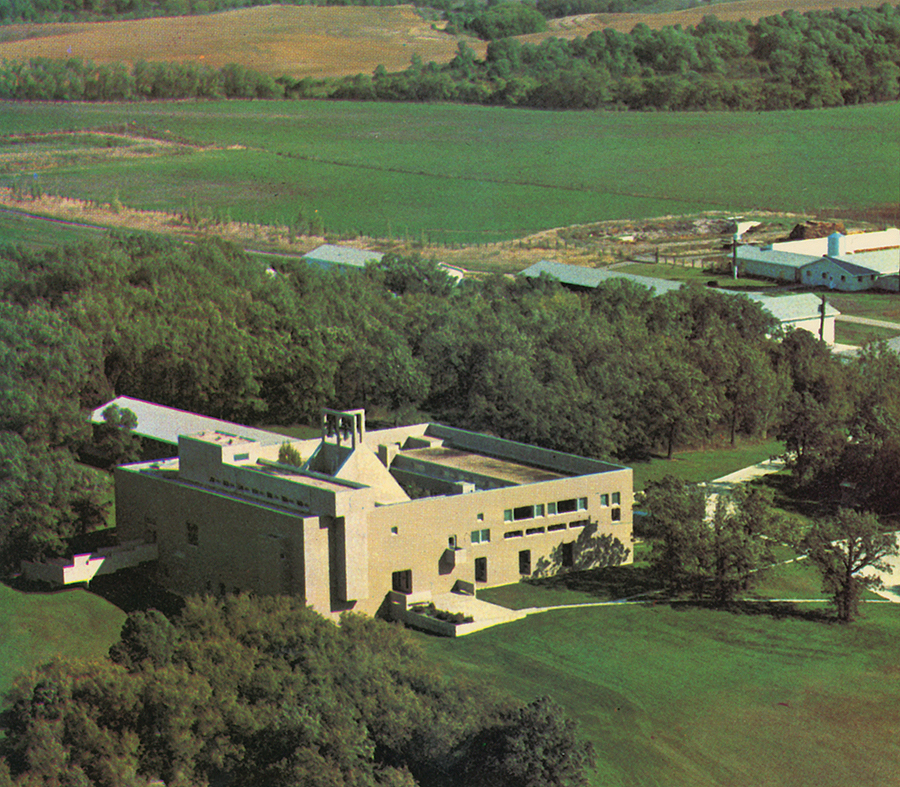 The rigorously composed complex is shown in a postcard. Prairie Agri Photo, Carmen, Manitoba. Courtesy of Trappist Monks of Our Lady of The Prairies