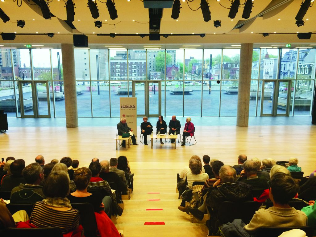 From left to right, host Paul Kennedy moderates a CBC Ideas panel with Julia Gersovitz, Elsa Lam, Brian MacKay-Lyons and Jean Carroon
