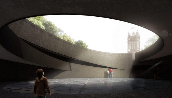 View from the central void of the memorial, image via Diamond Schmitt Architects