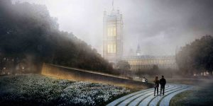 View in Victoria Tower Gardens, image via Diamond Schmitt Architects