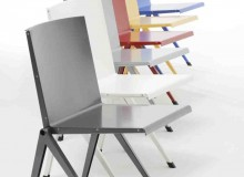 The Mondial chair is available in grey, metallic, white, red, blue and yellow.