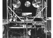 Sound Cage, 1982, aluminum piping, various instruments and sound-making devices by Nobuo Kubota.
