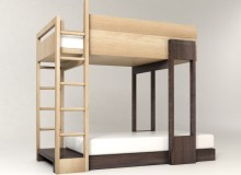 The PLUUNK bunk bed is designed from all four sides and therefore can be placed in various configurations depending on the size and shape of a room