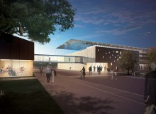 "Front entrance of the Biosphere Sustainability Centre, at dusk "" a rendering from Paul Raff Studio."