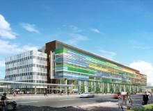 The Edmonton Clinic Health Academy is colourful landmark on the University of Alberta campus. Rendering by Norm Li Architectural Graphics