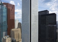 Like new: The exterior of First Canadian Place has been totally reclad. Replaced were the existing 45,000 pieces of Carrera marble with architecturally unique glass spandrel panels designed by architects Moed De Armas and Shannon.