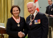 Marianne McKenna, founding partner of KPMB, is invested as an Officer of the Order of Canada by Governor General David Johnston.