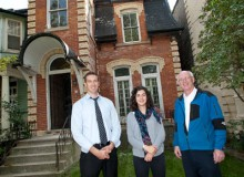 Three comrades (from left): Russell Richman, Ekaterina Tzekova and Kim Pressnail, in front of the downtown Toronto home where their innovative nested thermal envelope design will be implemented.