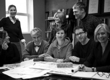 Established in 1984, the Vancouver office of Perkins+Will is led by a core group of designers who bring a depth of experience across the fields of architecture, industrial, interior and urban design.  Standing (from left): Loren Cavallin, director of interior design; Jana Foit, higher education practice leader; Sean Brent, associate.  Seated (from left):  Kirsten Reite, healthcare practice leader; Jim Huffman, associate principal; Susan Gushe, managing director; Ryan Bragg, associate principal; Joyce Drohan, director of urban design.