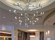 Custom decorative chandelier in the lobby. Photo by Peter Ford