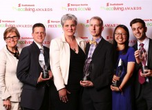 From left: Kaz Flinn, VP Corporate Social Responsibility, Scotiabank, with winners Tim Johnson, Jennifer Corson, Keith Robertson, Yining (Fiona) Yuan and Christopher Tegho