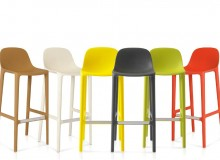 As with the Broom Chair, Broom Stools come in six colours: natural, white, yellow, dark grey, green and orange
