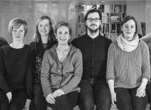 Founded in 2003, KANVA is a 10-person collective led by Tudor Radulescu, MRAIC, and Rami Bebawi, MRAIC. From left: Joyce Yam, Rami Bebawi, Olga Karpova, Katrine Rivard, France Moreau, Tudor Radulescu, Dina Safonova, Killian OConnor, Minh-Giao Truong & Gabriel Caya. Portrait by Marc Cramer