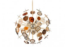 METEOR SHOWER Following in the footsteps of Corbett Lighting's award-winning Rockstar collection, Meteor is a Sputnik design that utilizes pieces of natural agate (often used in jewellery, agate is a rare, semi-precious material) in warm orange hues