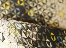EQUINOX-SAGITTARIUS In a tessellation of triangles, Equinox undulates between light and dark in a dramatic wave accented by two saturated colour facets. Brentano will preview this bold, GreenShield-finished performance fabric, available fall 2015, at NeoCon