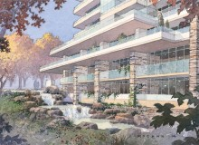 The Ravine: Waterfall Building. Rendering by Michael McCann
