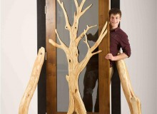 Student of the Year is Andrew Brassington from Ontario. His course work included a monumental door made from locally sourced Scottish timber - inspired by a silver birch sapling that he saw growing through the ruins of a collapsing barn in southern Ontario
