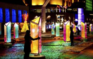 Prismatica was an immersive installation comprised of 50 pivoting prisms that transformed the Place des Festivals into a giant kaleidoscope through which visitors could observe the Quartier des Spectacles through a new lens. Photography by Cindy Boyce.