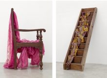 (left) Bharti Kher, Absence, 2011, sari, resin, wooden chair, Private Collection, Courtesy of the Artist and Galerie Perrotin, Photo: Guillaume Ziccarelli (right) Bharti Kher, They day they met, 2011, sari, resin, wooden stairs, Courtesy of the Artist and Galerie Perrotin, Photo: Guillaume Ziccarelli