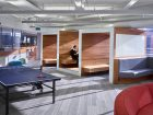 C.Y. Lee Architect Inc. transformed a previously unoccupied 9,700-sq.-ft. space in a seven-story building into a modern office for TradeRev, a software development company. The design goal was to integrate separate yet connected spaces, necessary for a business that includes heads-down work such as programming, and social work such as sales representatives . As such, a space-within-space motif encloses meeting and communal break environments within workstation space. Photo courtesy of C.Y. Lee Architect Inc.