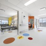 Brightly coloured nursing stations are tucked along wide service cor-ridors marked by colourful, animal-themed wayfinding graphics. Walls of glass, fritted with tree-like patterns ensures abundant natural light. Patient rooms are bright and colourful with views of Mont Royal and come equipped with overnight sleeping benches for family caregivers.