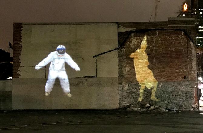 Space Monkey outside Saint-Laurent Metro Station. Photo: Louise-Édith Vignola