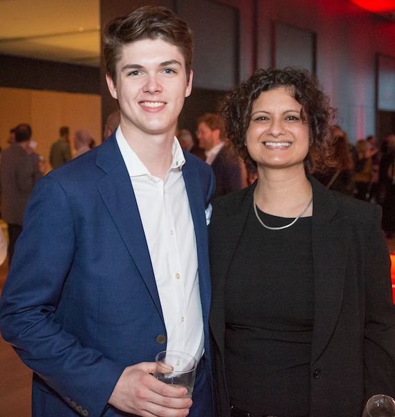 University of Western Ontario freshman, bass-guitar player and lawyer aspirant Kiefer Hayward, son of Rebecca Nienkamper and New York photographer Blaise Hayward; and his aunt, Priya Arora, Rebecca's sister-in-law and executive director, Capital Markets, CIBC.